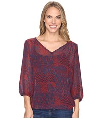 Stetson Native Patchwork V Neck Blouse Red Women's Clothing
