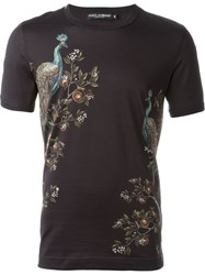 Dolce And Gabbana Peacock Print T Shirt Black