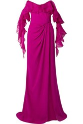 Marchesa Off The Shoulder Ruffled Organza And Silk Crepe Gown Fuchsia