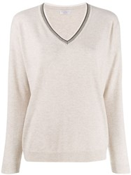 Brunello Cucinelli Knit Glitter V Neck Sweater Neutrals