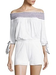 Red Haute Off The Shoulder Stretch Linen Romper White