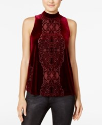 Be Bop Juniors' Velvet Burnout Tank Top Garnet