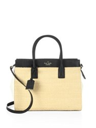 Kate Spade Cameron Street Straw Candace Satchel Tan Black