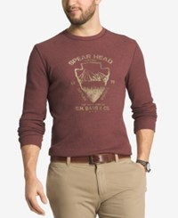 G.H. Bass And Co. Men's Front Graphic Crew Neck Thermal Dark Pink