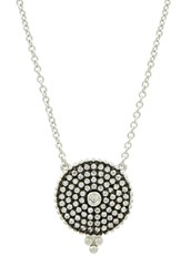 Freida Rothman Pave Disc Pendant Necklace Black White Silver