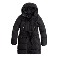 J.Crew Tall Long Belted Down Puffer Black
