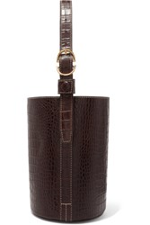 Trademark Small Croc Effect Leather Bucket Bag Brown