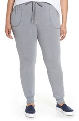Caslon Plus Size Women's Knit Jogger Pants Grey