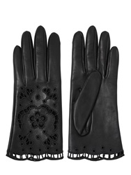 Dolce And Gabbana Lace Inserts Nappa Leather Gloves Black