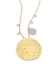 Meira T Diamond 14K Yellow And White Gold Disc Pendant Necklace Gold Silver