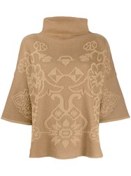 Etro Printed Poncho Top Neutrals