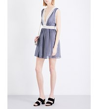 Sandro V Neck Fit And Flare Organza Dress Navy Blue