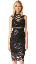 Saylor Heloise Scallop Sequin Dress Black