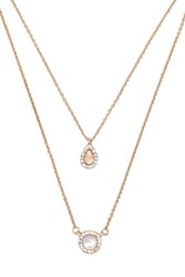 Forever 21 Layered Iridescent Necklace Set Gold Peach