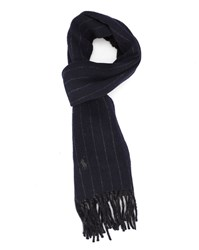 Polo Ralph Lauren Blue Double Face Striped Wool Scarf