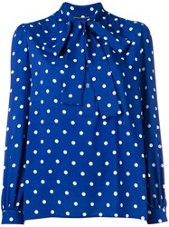 Saint Laurent Polka Dot Pussybow Blouse Blue