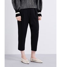 Sportmax Semele Cropped High Rise Woven Trousers Black