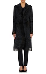 Thom Browne Women's Fringed Fair Isle Coat Black Size 8 Us