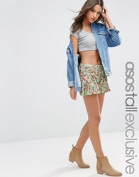 Asos Tall Ruffle Hem Mint Floral Shorts Multi