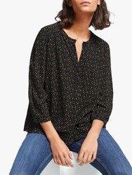 John Lewis Collection Weekend By Micro Floral Easy Button Blouse Black Yellow
