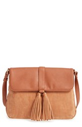 Sole Society Faux Leather Crossbody Bag Brown Cognac
