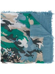 Zadig And Voltaire Carp Print Scarf Women Polyamide Polyester Modal Wool One Size Blue