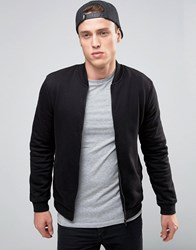 New Look Jersey Bomber Jacket In Black Black