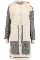 See By Chloe Quilted Cotton And Wool Blend Boucle Hooded Coat Cream