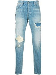 Mr. Completely Stonewashed Distressed Jeans Men Cotton 33 Blue