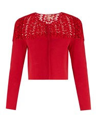 Giambattista Valli Macrame Lace Panel Cropped Cardigan Red