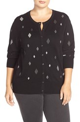 Plus Size Women's Foxcroft Diamond Pattern Crewneck Cardigan