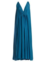 Kalita Clemence Silk Blend Maxi Dress Blue