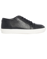 Armani Collezioni Navy Leather Contrasting Sole Sneakers
