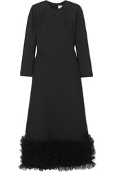 Valentino Tulle Trimmed Wool And Silk Blend Crepe Gown Black