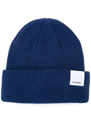 Attachment Folded Knitted Beanie Men Cotton One Size Blue