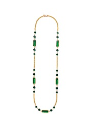 Kenneth Jay Lane Stone Chain Link Rope Necklace Green