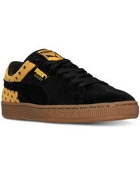 Puma Men's Suede Stars Casual Sneakers From Finish Line Black Gold Fusion