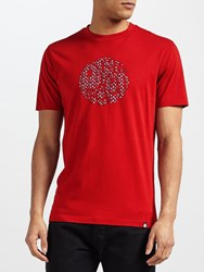 Pretty Green Rindle Logo Crew Neck T Shirt Red