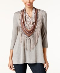 Styleandco. Style Co. Petite T Shirt With Printed Fringe Scarf Only At Macy's Summer Straw