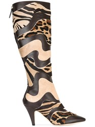Alberta Ferretti Animal Print Boots Brown