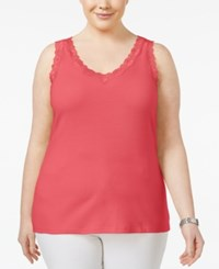 Karen Scott Plus Size Cotton Lace Trim Tank Only At Macy's Peony Coral