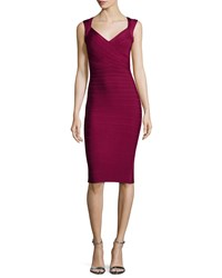 Herve Leger Sleeveless V Neck Bandage Dress Berry Pink