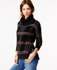 Sanctuary Plaid Turtleneck Sweater Mulberry Check