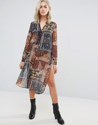 Qed London Scarf Print Shirt Dress Rust Khaki Red