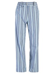 Isabel Marant Selina High Rise Striped Trousers Blue Multi