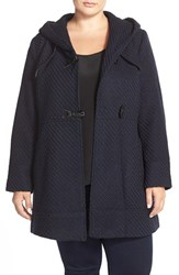 Plus Size Women's Jessica Simpson Hooded Basket Weave Duffle Coat Navy