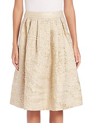 Pauw Pleated Metallic Jacquard Skirt Gold