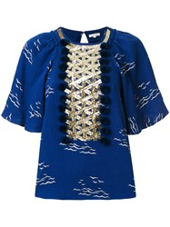 Manoush Sequinned Bib Top Blue