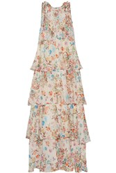 Anjuna Melania Tiered Floral Print Cotton Voile Dress Off White Orange