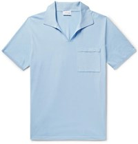 Brioni Slim Fit Embroidered Cotton Jersey Polo Shirt Sky Blue